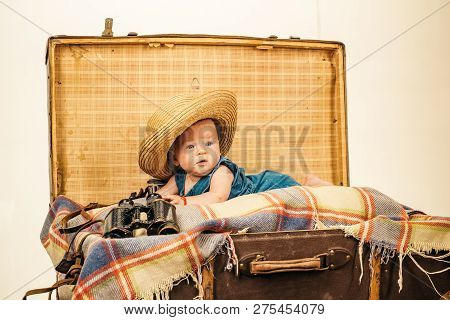 Interesting Activity. Family. Child Care. Small Girl In Suitcase. Traveling And Adventure. Sweet Lit