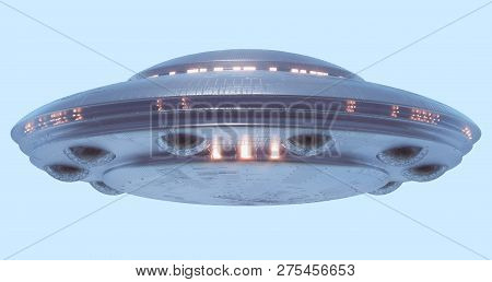 Unidentified Flying Object On Light Blue Neutral Background. Image With Clipping Path Included. 3d I