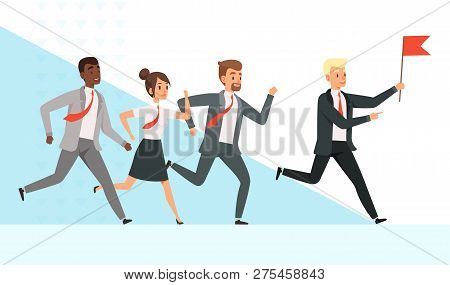 Business People Running. Workers Managers Male Female Goes With Their Mentor Leader Director Red Fla