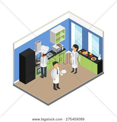 Restaurant Kitchen. Commercial Food Business Eating Equipment Chef Tray Dish Stuff Vector Isometric.