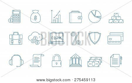 Business Finance Icons. Banking Law Global Economy Financial Bank Vector Line Symbols Isolated. Fina