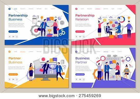 Business Partners Landing. Web Pages Template Brainstorming People Work Partnership Finance Meeting