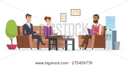 Business Waiting Room. People At Office Lobby Modern Interior Sitting Tea Break Reception Vector Cha