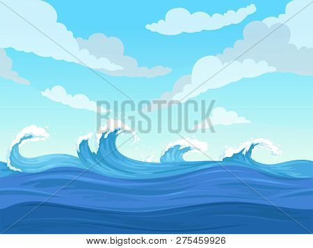 Ocean Surface Wave Seamless. Underwater Cartoon Liquid Pattern River And Sea Vector Background. Illu