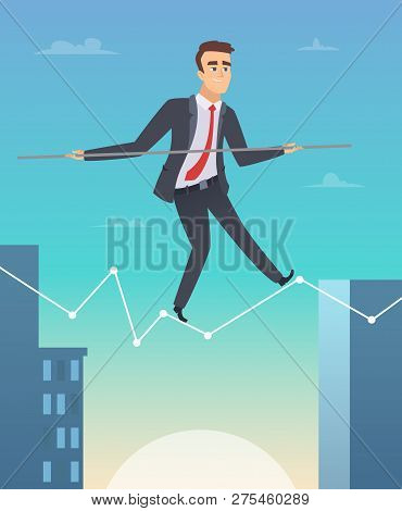 Businessman Balancing. Concept Picture Of Happy Worker Manager Going To Success Personal Challenges