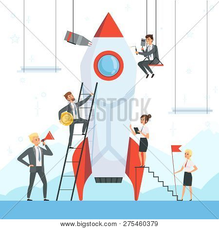 Startup Concept. Business Characters Launch New Project Shuttle Rocket Symbols Success Startup Freed