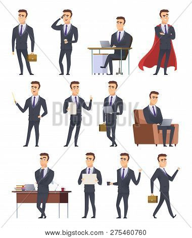 Poses Business Characters. Professionals Male Managers Working Sitting Holding Business Items People