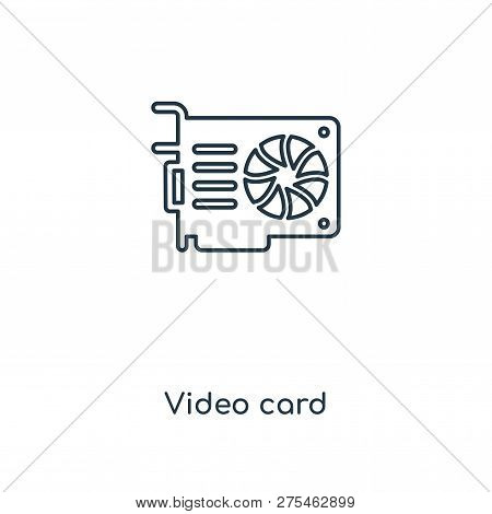 Video Card Icon In Trendy Design Style. Video Card Icon Isolated On White Background. Video Card Vec