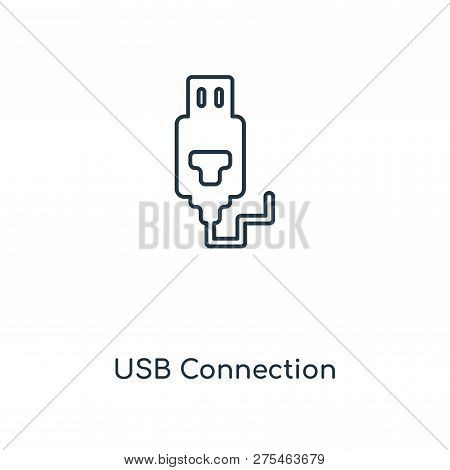Usb Connection Icon In Trendy Design Style. Usb Connection Icon Isolated On White Background. Usb Co