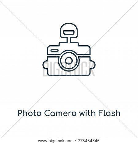 Photo Camera With Flash Icon In Trendy Design Style. Photo Camera With Flash Icon Isolated On White