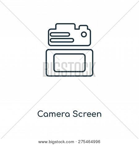 Camera Screen Icon In Trendy Design Style. Camera Screen Icon Isolated On White Background. Camera S