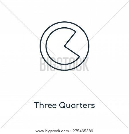 Three Quarters Icon In Trendy Design Style. Three Quarters Icon Isolated On White Background. Three