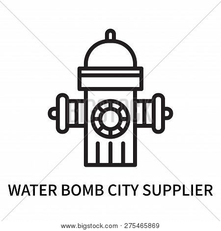 Water Bomb City Supplier Icon Isolated On White Background. Water Bomb City Supplier Icon Simple Sig