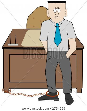 Man Business Chained To Desk