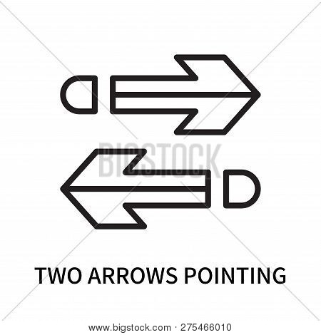 Two Arrows Pointing Right And Left Icon Isolated On White Background. Two Arrows Pointing Right And