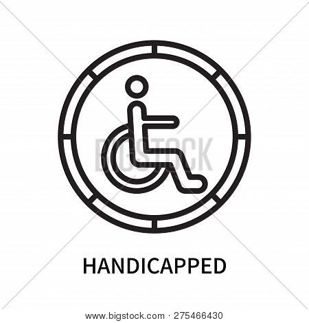 Handicapped Icon Isolated On White Background. Handicapped Icon Simple Sign. Handicapped Icon Trendy
