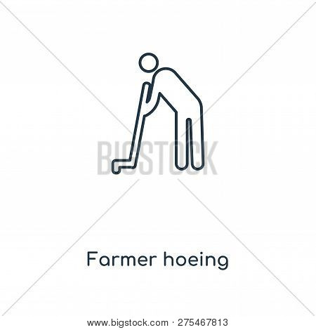 Farmer Hoeing Icon In Trendy Design Style. Farmer Hoeing Icon Isolated On White Background. Farmer H