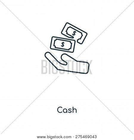 Cash Icon In Trendy Design Style. Cash Icon Isolated On White Background. Cash Vector Icon Simple An