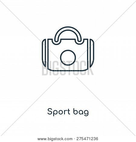 Sport Bag Icon In Trendy Design Style. Sport Bag Icon Isolated On White Background. Sport Bag Vector