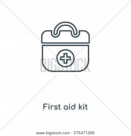 First Aid Kit Icon In Trendy Design Style. First Aid Kit Icon Isolated On White Background. First Ai