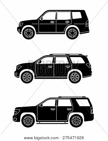 Set Of Personal Cars. Set Of Off-road Automobiles In Flat Style. Offroad Suv. Side View. Vector Illu