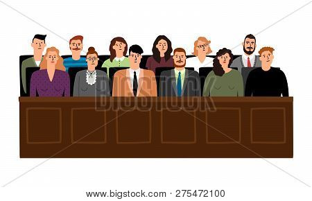 Jury In Court Trial Vector Illustration. People In Judging Process, Sittingin Jury Box, Isolated On