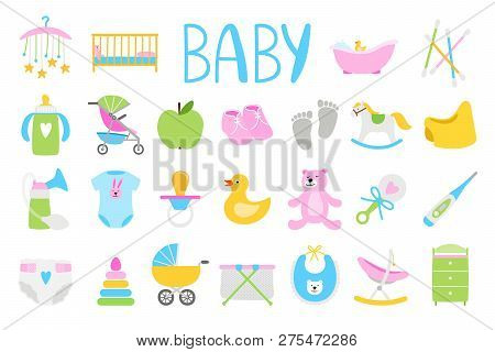 Vector Babies Icons. Cartoon Baby Icon Set, Baby Shower Vector Illustration And Newborn Family Acces