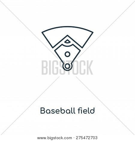Baseball Field Icon In Trendy Design Style. Baseball Field Icon Isolated On White Background. Baseba