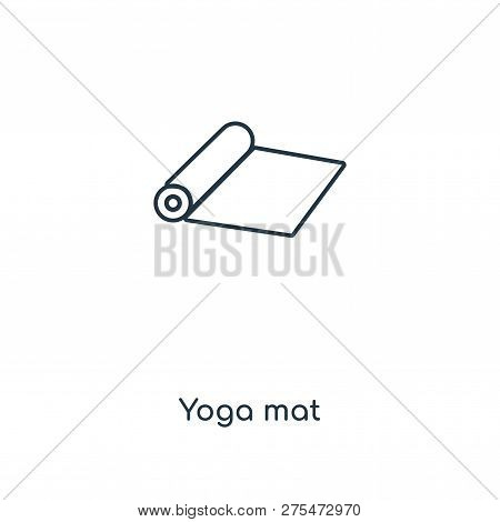 Yoga Mat Icon In Trendy Design Style. Yoga Mat Icon Isolated On White Background. Yoga Mat Vector Ic