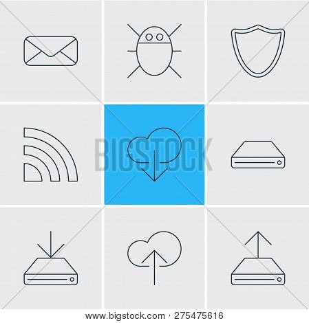 Vector Illustration Of 9 Internet Icons Line Style. Editable Set Of Cloud Download, Wifi, Bug And Ot