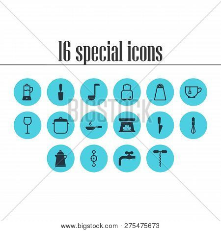Vector Illustration Of 16 Restaurant Icons. Editable Set Of Kitchen Scale, Waterworks, Scales And Ot