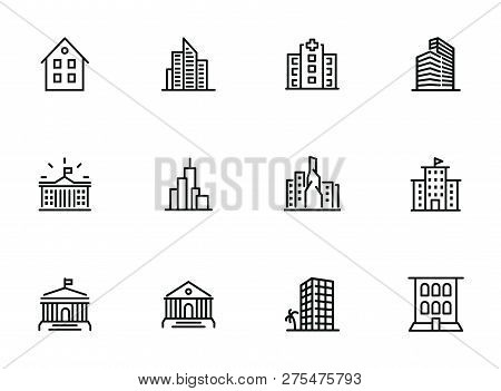 Buildings Icons. Set Of Line Icons On White Background. Hospital, Town House, Museum, Hotel. City Co