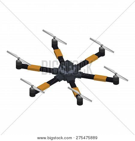 Six Rotor Drone Icon. Isometric Of Six Rotor Drone Vector Icon For Web Design Isolated On White Back