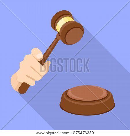 Judge Gavel Decision Icon. Flat Illustration Of Judge Gavel Decision Vector Icon For Web Design