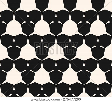 Vector Geometric Seamless Pattern With Edgy Shapes, Triangles, Hexagons. Abstract Monochrome Ornamen