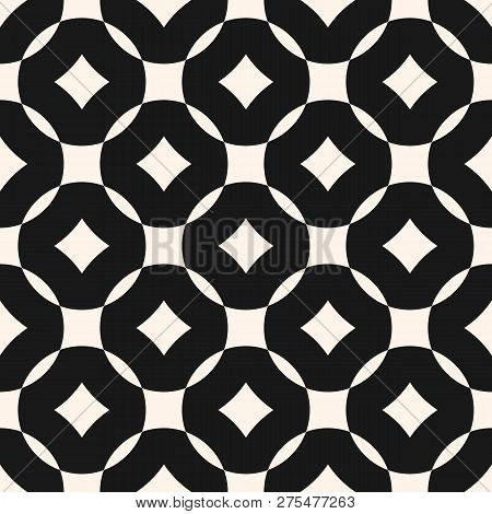 Vector Geometric Seamless Pattern With Grid, Lattice, Rounded Shapes, Squares, Rhombuses. Simple Mod