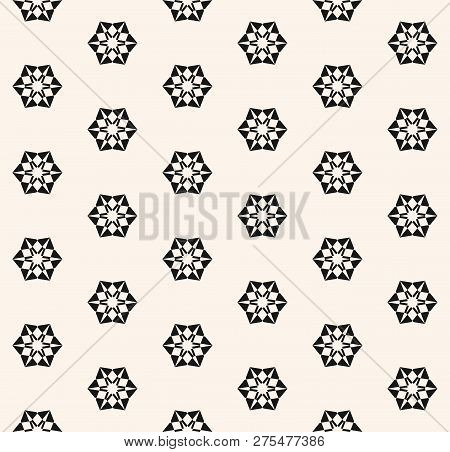 Vector Geometric Snowflakes Seamless Pattern. Abstract Black And White Texture With Small Floral Sha