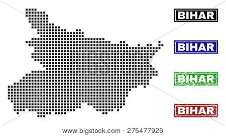 Dot Vector Abstracted Bihar State Map And Isolated Clean Black, Grunge Red, Blue, Green Stamp Seals.