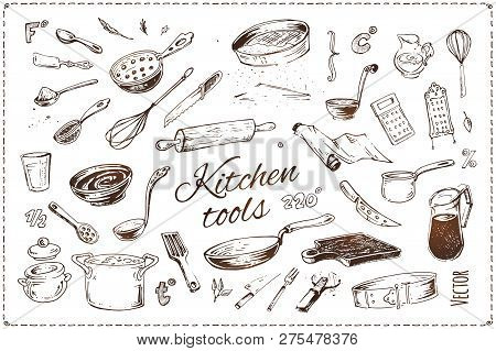 Hand Drawn Kitchenware Vector Icons Set. Sketch Of Isolated Kitchen Tools And Elements Of Cooking Fo