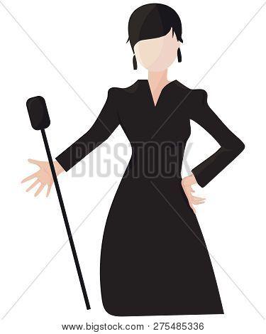 Vintage Romance Or Cabaret Singer Girl Or Woman Isolated Illustration. Lady Singer During Female Cla