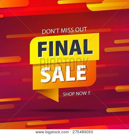 Yellow Orange Tag Final Sale Promotion Website Banner Heading Design On Graphic Red Background Vecto