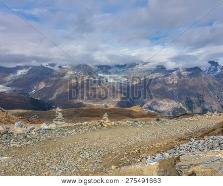 View From The Gornergrat On A Cloudy Day At The Middle Of September. The Gornergrat (english: Gorner