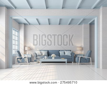 Pastel Living Room Vintage Style 3d Render,there Are White Brick Pattern Wall,wood Plank Floor,blue