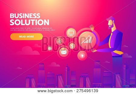 Searching For Opportunity. Illustration Of A Businessman Looking And Searching By Technology To Find