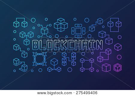 Blockchain Crypto Vector Bright Horizontal Illustration In Outline Style On Dark Background