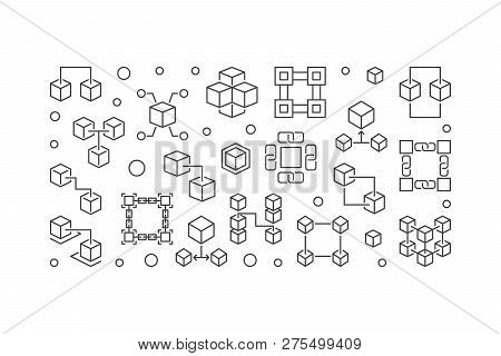 Vector Blockchain Crypto Concept Horizontal Illustration In Thin Line Style