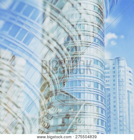Skyscrapers. Vintage. City Life. Abstract Background For Your Text. Megalopolis.  Panoramic Skyline.