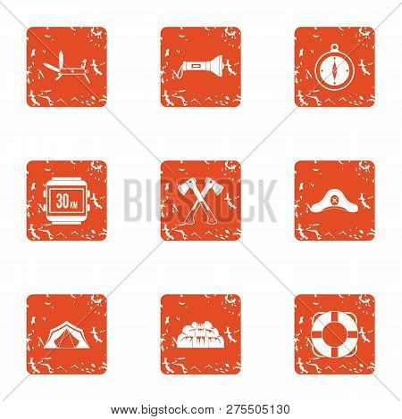 Tour Hike Icons Set. Grunge Set Of 9 Tour Hike Icons For Web Isolated On White Background