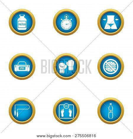 Athleticism Icons Set. Flat Set Of 9 Athleticism Icons For Web Isolated On White Background
