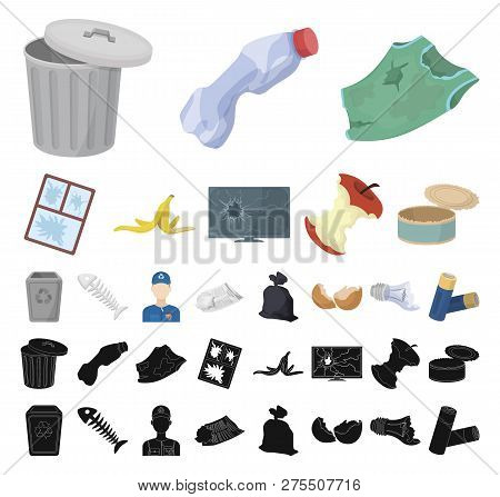 Garbage And Waste Cartoon, Black Icons In Set Collection For Design. Cleaning Garbage Vector Symbol